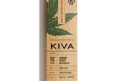 KIVA - Vanilla Chai Milk Chocolate Bar - 100mg