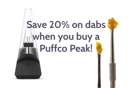 Save 20% On Concentrates with purchase of Puffco Peak! Banner