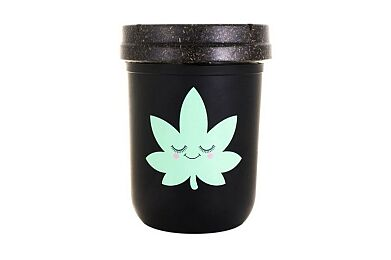 Happy Leaf Stash Jar 8oz. (Black/Mint)